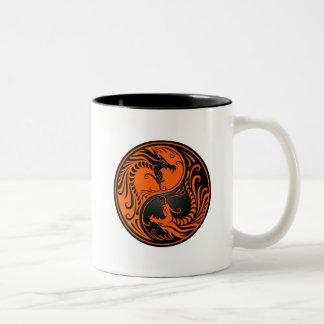 Orange and Black Yin Yang Dragons Coffee Mugs