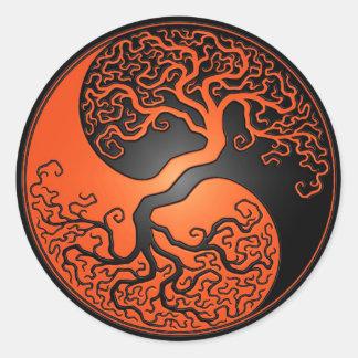 Orange and Black Yin Yang Tree Classic Round Sticker