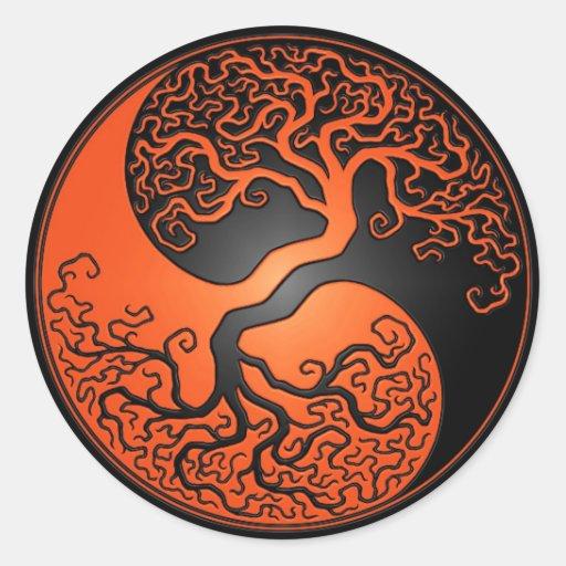 Orange and Black Yin Yang Tree Round Stickers