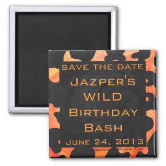 Orange and Black Zebra Monogram Square Magnet