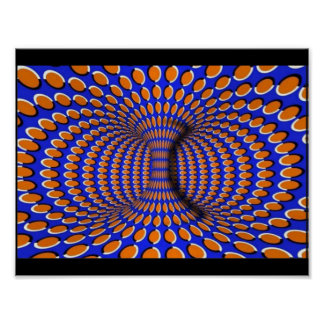 Orange and Blue 3D Optical Illusion Poster