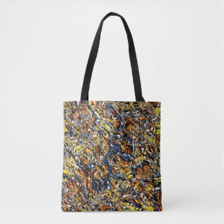 Orange And Blue Abstract Tote Bag