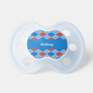 Orange and Blue Argyle Pattern Pacifiers