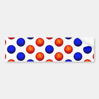 Orange and Blue Basketball Pattern Bumper Sticker