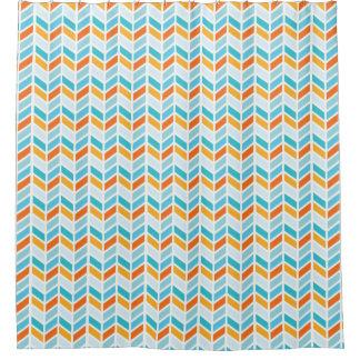 Orange and Blue Bold Herringbone Pattern Design Shower Curtain