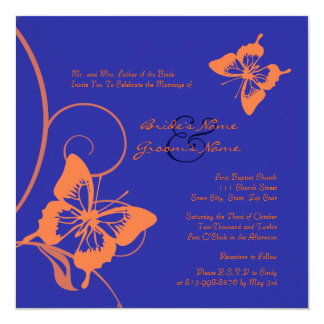 Orange and Blue Butterfly Wedding Invitation