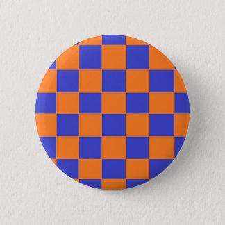 Orange and Blue Checkers 6 Cm Round Badge