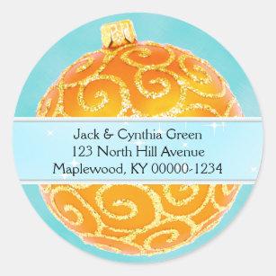 Orange and Blue Christmas Ornament Address Label