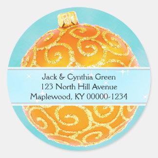Orange and Blue Christmas Ornament Address Label Round Sticker