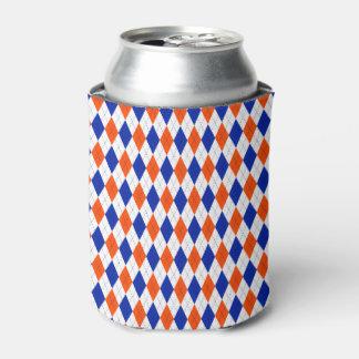 Orange and Blue Classic Argyle Diamond Pattern Can Cooler