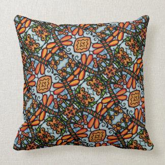 Orange And Blue Dragonflies Pattern Cushion