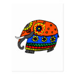 Orange and Blue Elephant with Flowers Postcard