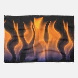 Orange and Blue Flames on a Black Background Tea Towel