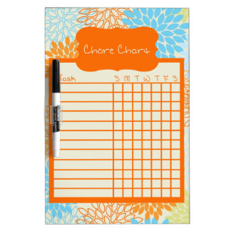 Orange and Blue Floral Chore Chart Dry Erase Board
