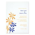 Orange and Blue Floral Wedding Invitations
