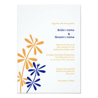 "Orange and Blue Floral Wedding Invitations 5"" X 7"" Invitation Card"