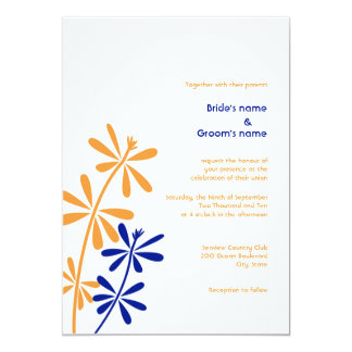 Orange and Blue Floral Wedding Invitations