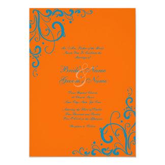 Orange and Blue Flourish Wedding Invitation