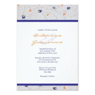 Orange and Blue Flower Petal Wedding Invitations