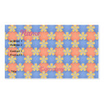 Orange and Blue Flowers Pattern Business Card Template
