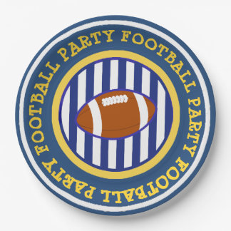 Orange and Blue Football Sports Party Paper Plates