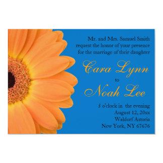 Orange and Blue Gerber Daisy Wedding Invitations