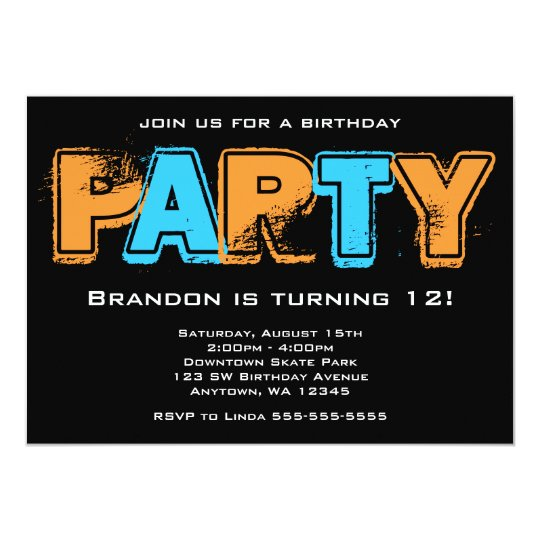 Orange and Blue Grunge Birthday Party Card
