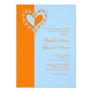 Orange and Blue Heart Wedding Invitation