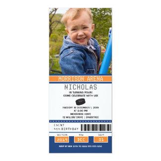 Orange and Blue Hockey Ticket Birthday Card