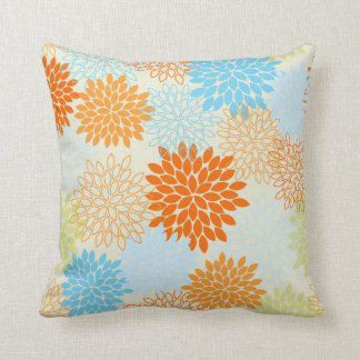 Orange and Blue Mums Cushion