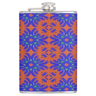 Orange and blue pattern hip flask