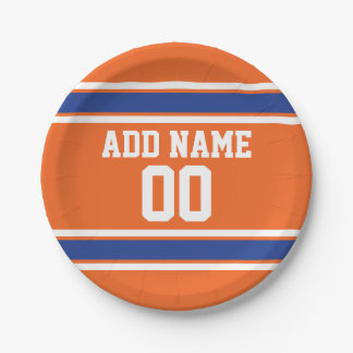 Orange and Blue Personalized Sports Jersey 7 Inch Paper Plate