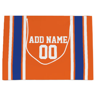 Orange and Blue Personalized Sports Jersey Large Gift Bag