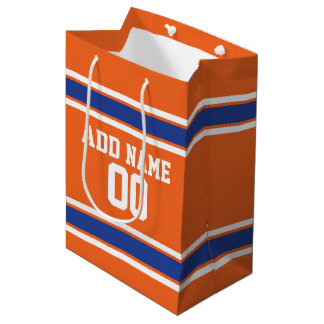 Orange and Blue Personalized Sports Jersey Medium Gift Bag