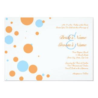 Orange and Blue Polka Dot Wedding Invitation