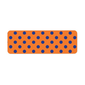Orange and Blue Polka Dots Return Address Label