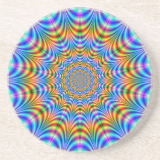 Orange and Blue Psychedelic Rings Coaster