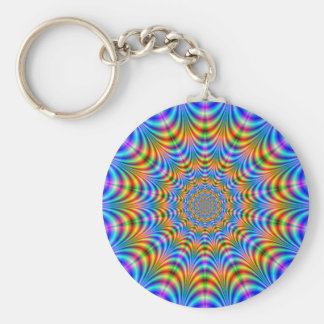 Orange and Blue Psychedelic Rings Keychain