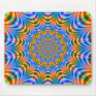 Orange and Blue Psychedelic Rings Mousepad