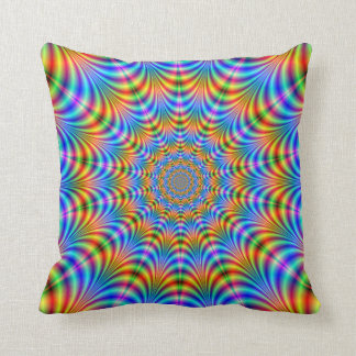 Orange and Blue Psychedelic Rings Pillows