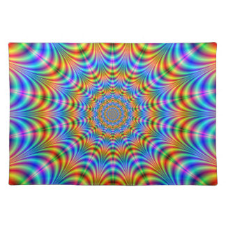 Orange and Blue Psychedelic Rings Placemats