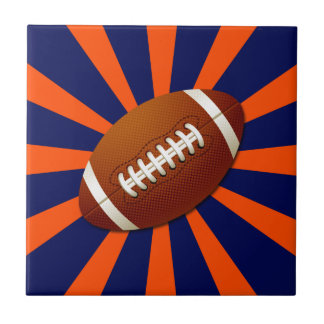 Orange and Blue Retro Football Tile