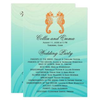 Orange and Blue Seahorse Wedding Programs 13 Cm X 18 Cm Invitation Card