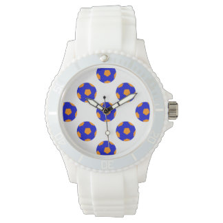 Orange and Blue Soccer Ball Pattern Watch