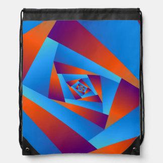 Orange and Blue Spiral Drawstring Bag