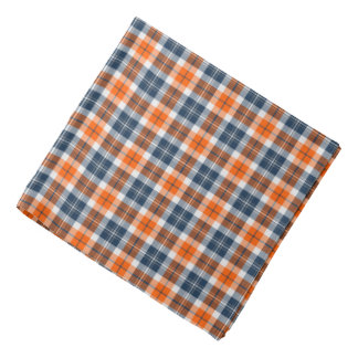 Orange and Blue Sporty Plaid Bandana
