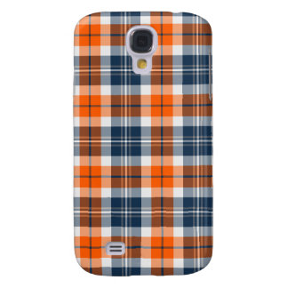 Orange and Blue Sporty Plaid Galaxy S4 Case