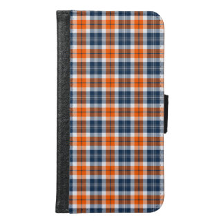 Orange and Blue Sporty Plaid Samsung Galaxy S6 Wallet Case