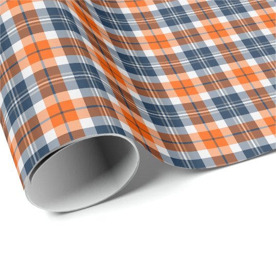 Orange and Blue Sporty Plaid Wrapping Paper