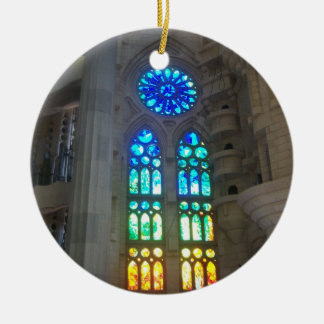 Orange and Blue Stained Glass Christmas Ornament